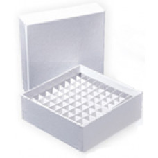 81-well, 2-in Super White Coated Cardboard Freezer Boxes